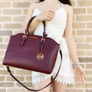 Michael Kors Ciara Large Top Zip Satchel Merlot